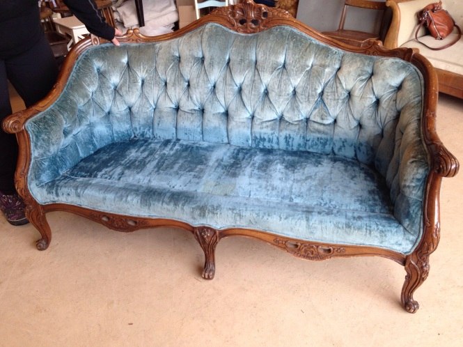 Blue Crushed Velvet Loveseat Waiting for New Fabric