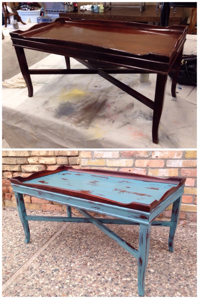 Petite Coffee Table Makeover with Miss Mustard Seed's Kitchen Scale Milk Paint