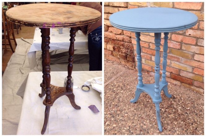 Small Side Table Before & After - Milk Paint French Enamel and Grain Sack