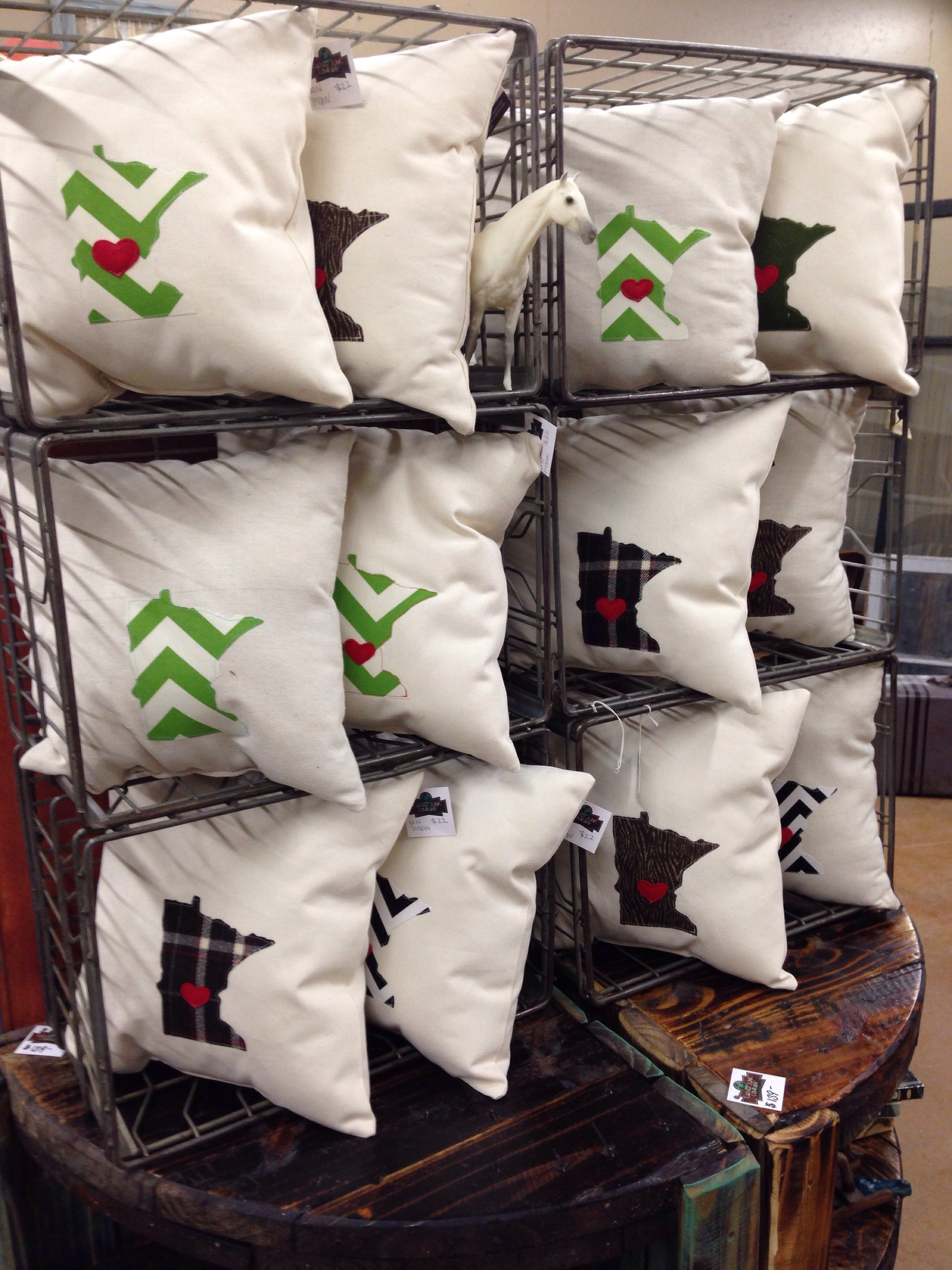 Made in MN Pillows. Handmade, from Carver Junk Company | Recycle. Repurpose. Relove.