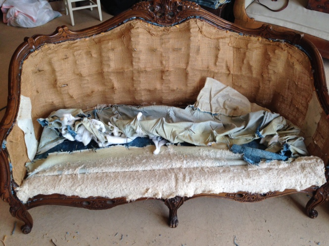 Carver Junk Company | Blue Crushed Velvet Loveseat Waiting for New Fabric