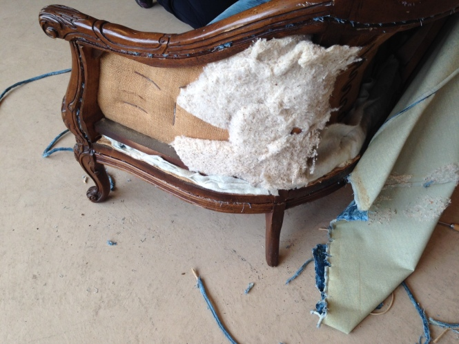 Here We Go! Deconstruction Begins on the Blue Velvet Loveseat