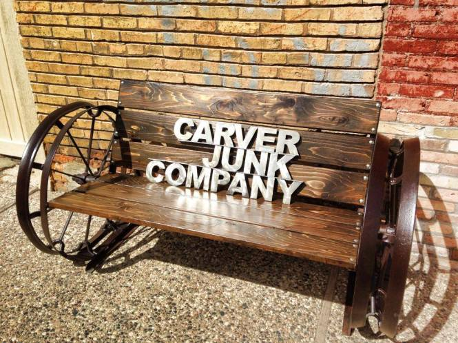 Tractor Wheel Bench in Dark Walnut | Carver Junk Company | Recycle. Repurpose. Relove.