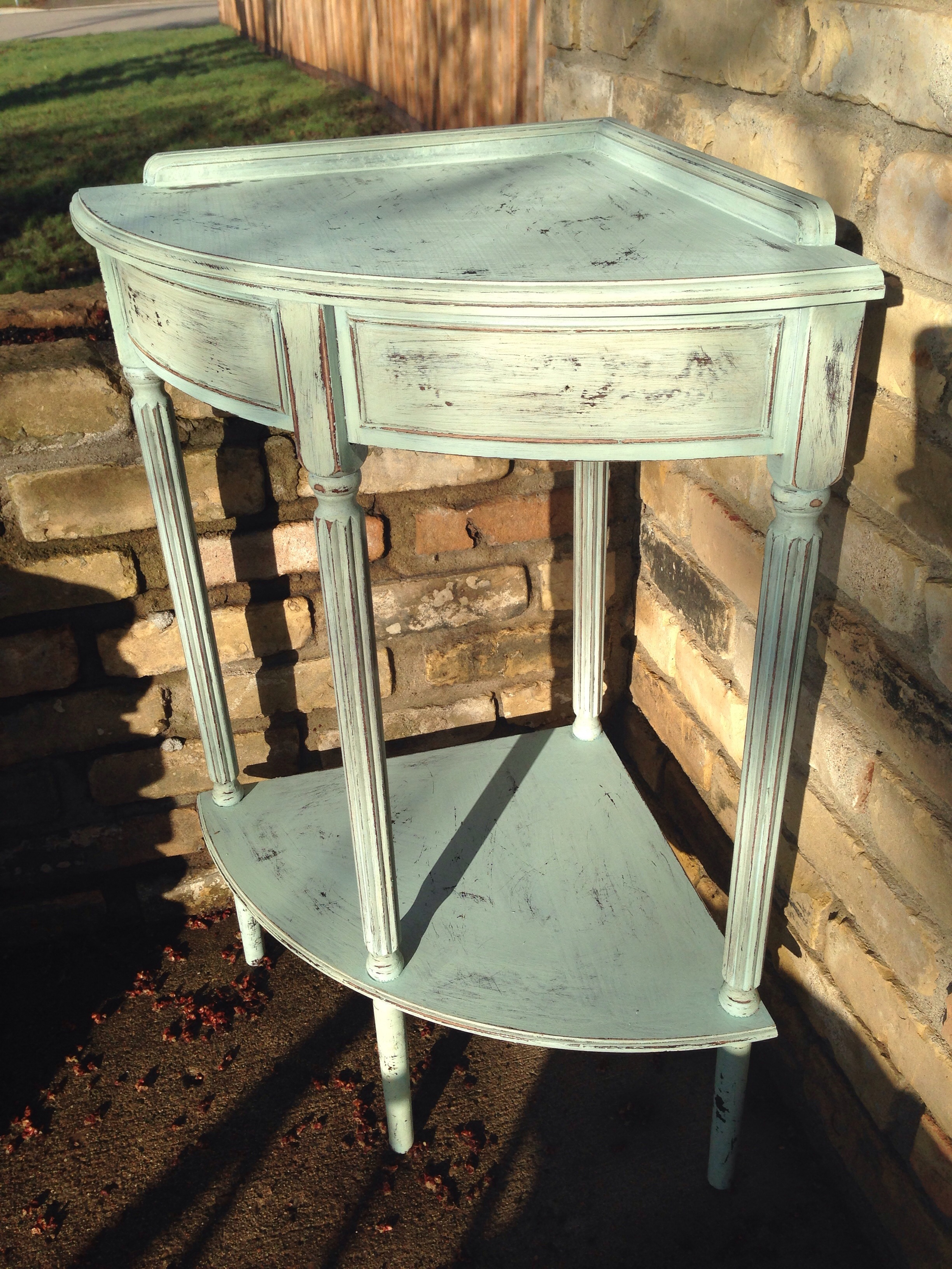Eulalie's Sky Milk Paint Corner Table | Carver Junk Company | Recycle. Repurpose. Relove.