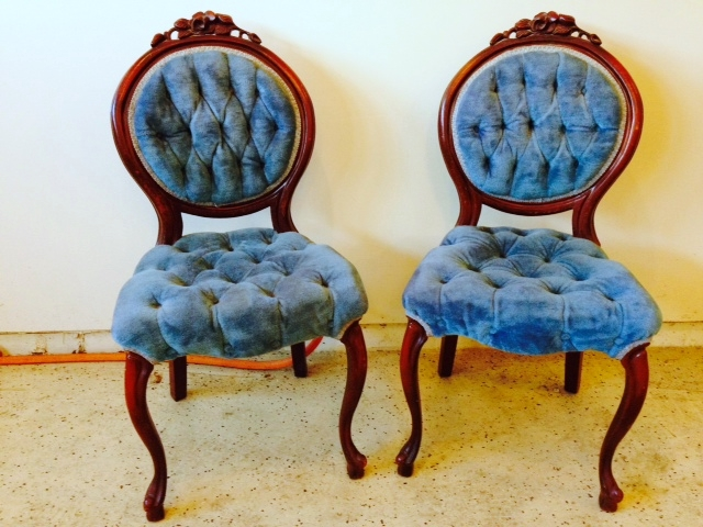 Antique Blue Tufted Balloon Chairs by Fab Rehab Designs | Recycle. Repurpose. Relove.