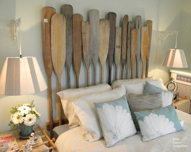 Source: Bees Knees Bungalow |Great Shabby Chic Oar Paddle Headboard | Carver Junk Company | #vintagecabin