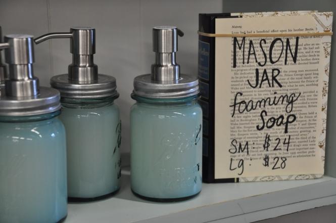 Handmade Foaming Hand Soap in Vintage Blue Ball Mason Jars with Foaming Soap Dispenser Pump | Carver Junk Company | Handmade in MN